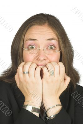 business woman biting her nails