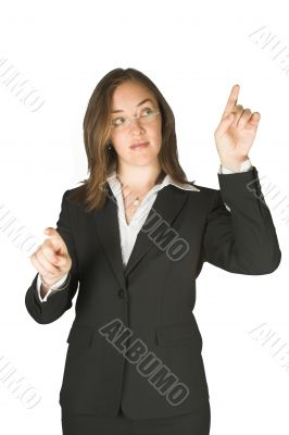 business woman pointing on screen