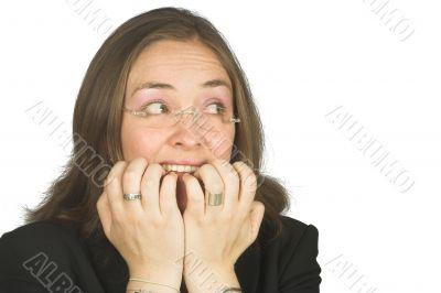 nerve raking, business woman in panic