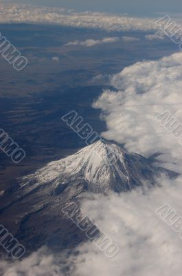 Volcano Image taken from airplane in Mexico