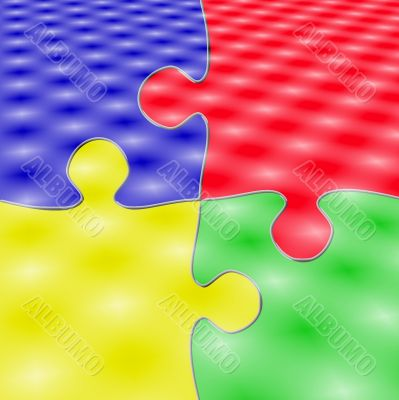 Four Pieces Puzzle Color with  Lights