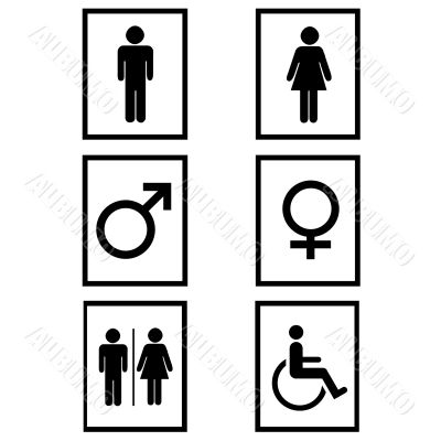 Gender signs in black and white
