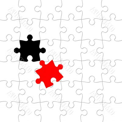 Puzzle with displaced piece in red