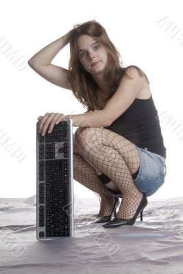 desperate woman with keyboard