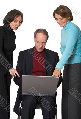 business management team with laptop