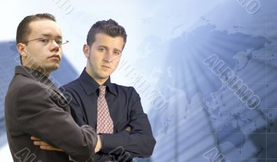 business men looking confident - world background