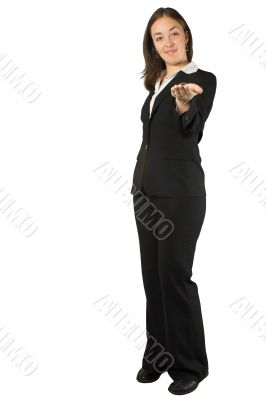 business woman with an inviting hand