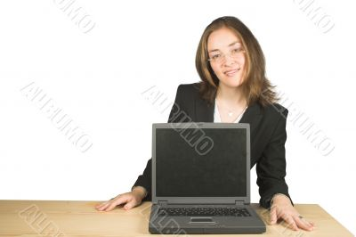 business woman with laptop in front of her