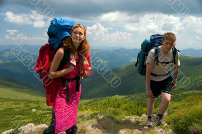 Couple of a backpacking tourists