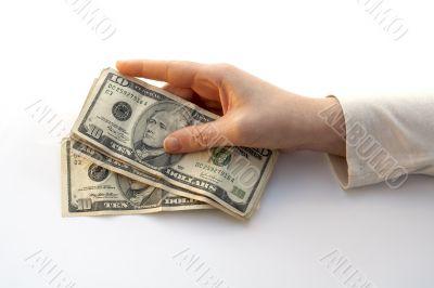 Hand Holding a Fan of ten dollars