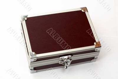 Brown toned metal briefcase, isolated