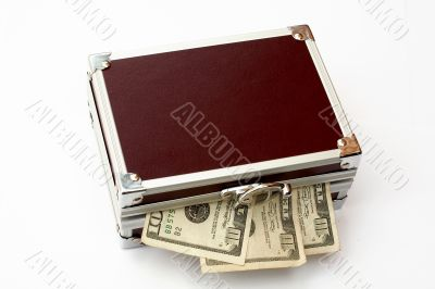 Bills on Brown toned metal briefcase, isolated