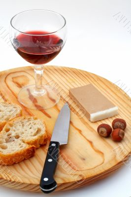 Pate, bread, glass of red wine