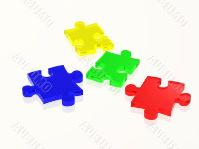 glass puzzle pieces in attractive colours