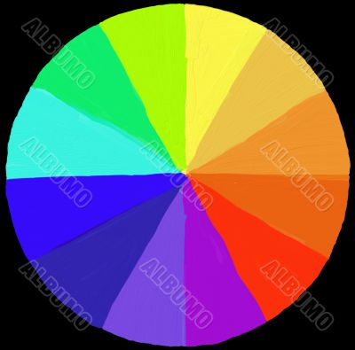 painter`s color wheel - painted in