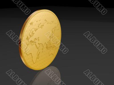 european coin over black