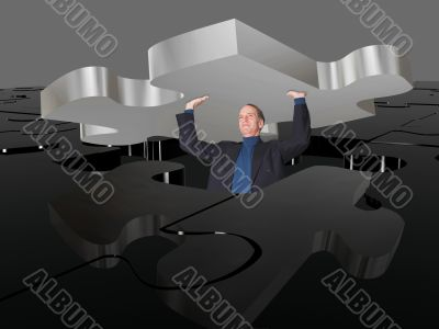 business man pushing puzzle up