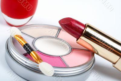 Detail of assortment of makeups
