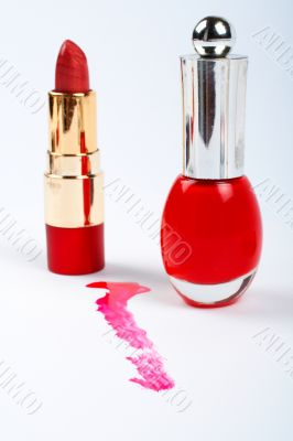Red fingernail polish and lipstick