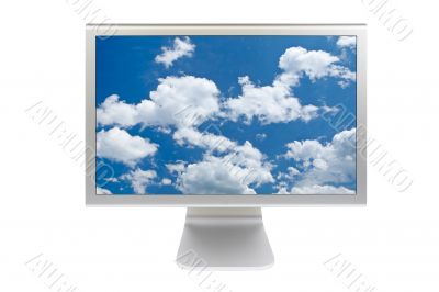 Clouds on flat panel lcd monitor