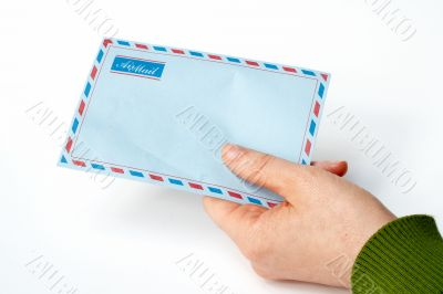 holding envelope in isolated background