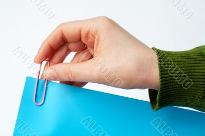 place a clip on blue document on white background