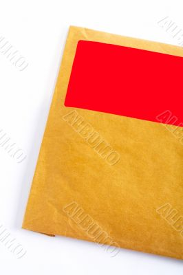 Detail of envelope with blank red sticker