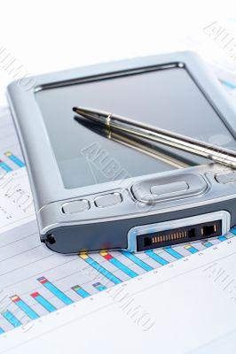 PDA on market business financial chart
