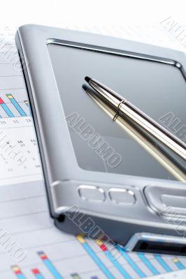 PDA on market chart background
