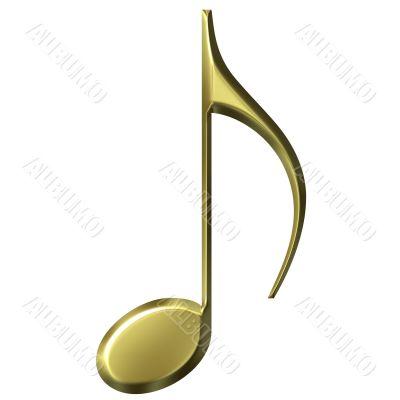 3D Golden Eighth Note