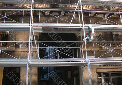 Facade of a under repair house