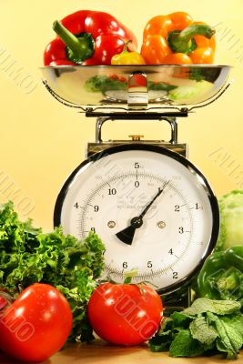 Vegetables on kitchen scale