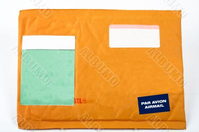 Envelope with blank stickers for text