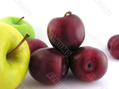 Plums and apples.