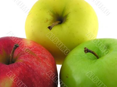 Yellow, green and red apples.