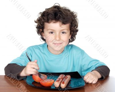 Adorable child eating