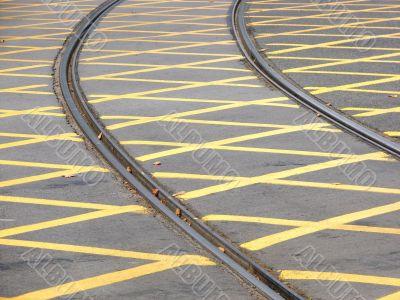 Tram rails. Crossing