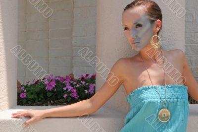Model Blue Dress Planter