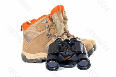 Hiking boots and binoculars