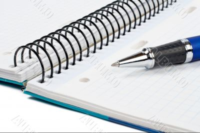 Detail of pen and blank notebook sheet