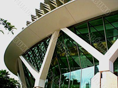 futuristic modern glass building