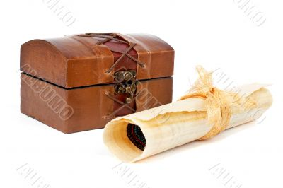 Treasure chest and papyrus scroll