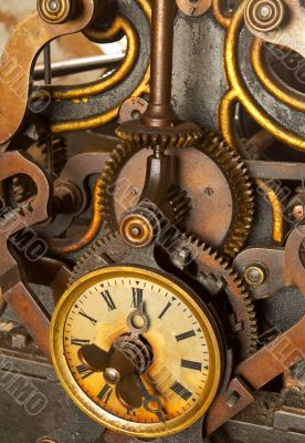 The machinery of old and dirty clock