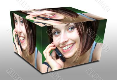cube woman with phone
