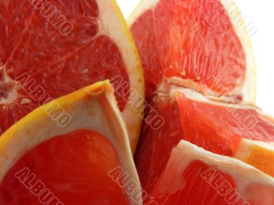 Slices of a grapefruit.