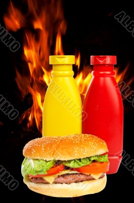 Burger over a flames background