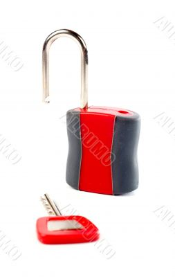Unlocked padlock and the key