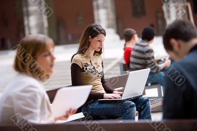business outdoor with notebook