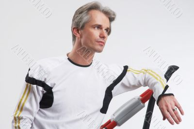 man with the exercise equipment