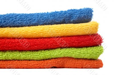 Multicolour towels stacked